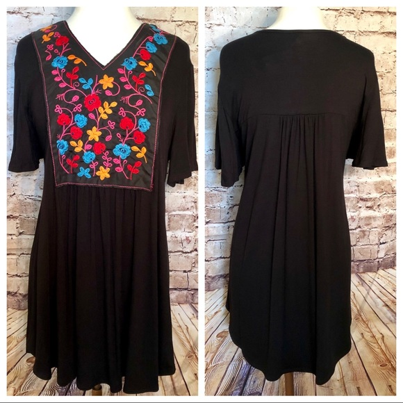 Tops - Black with embroidered front top